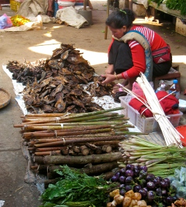 Market trader selling bark